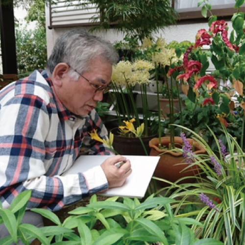 モノクロで野の花を描く